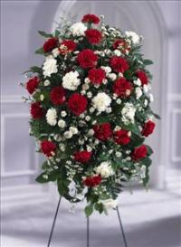 Crimson & White™ Standing Spray by Angel Lucys Funeral Florist - Victoria, TX