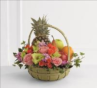 Rest in Peace Fruit & Flowers Basket by Angel Lucys Funeral Florist - Victoria, TX