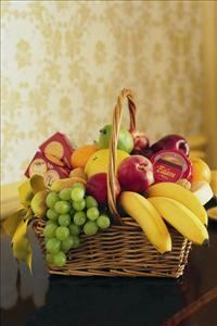 Cheese, Crackers & Fruit Basket by Angel Lucys Funeral Florist - Victoria, TX