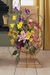 Easel Spray with Grapevine by Angel Lucys Funeral Florist - Victoria, TX