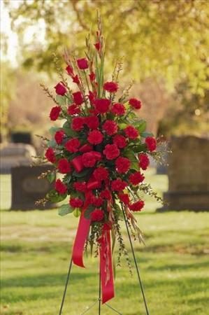 All-Red Standing Spray by Angel Lucys Funeral Florist - Victoria, TX